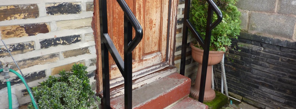 Door step handrail